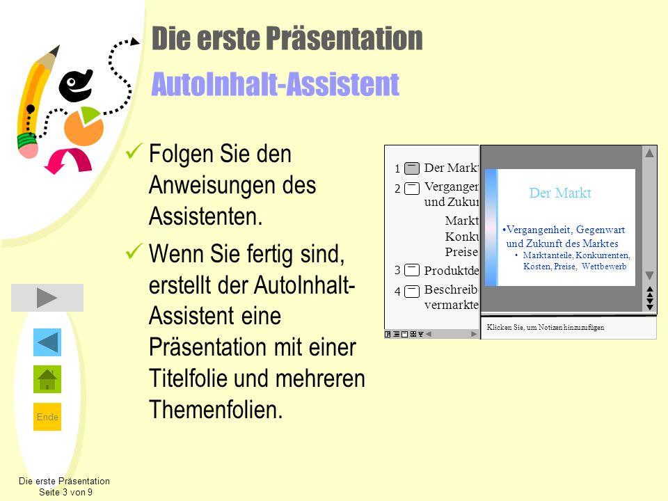 Die erste Präsentation AutoInhalt-Assistent