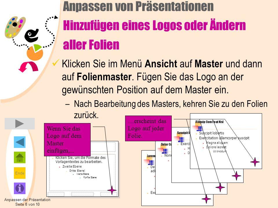 Anpassen der Präsentation Seite 8 von 10