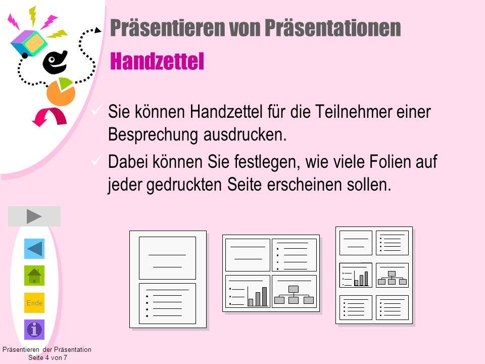 Präsentieren von Präsentationen Handzettel