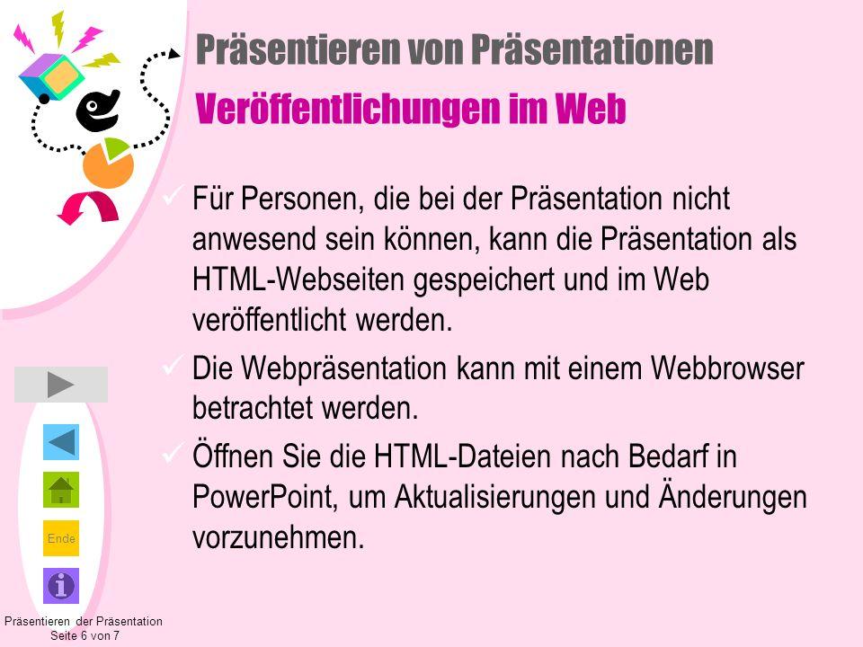 Präsentieren von Präsentationen Veröffentlichungen im Web