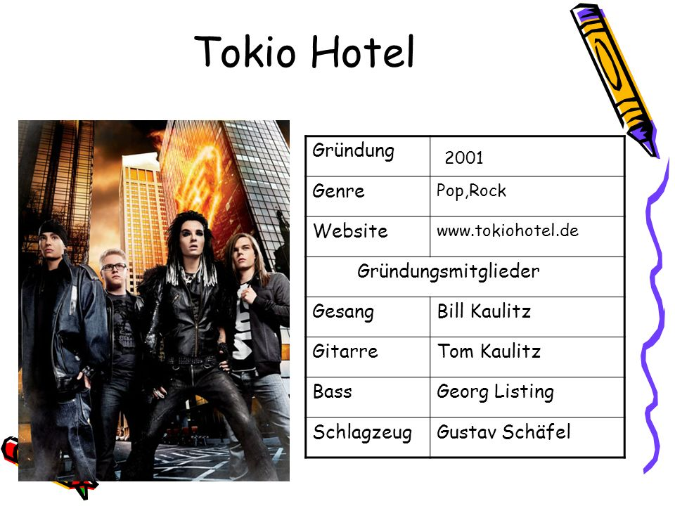Tokio Hotel 2001 Gründung Genre Website Gründungsmitglieder Gesang
