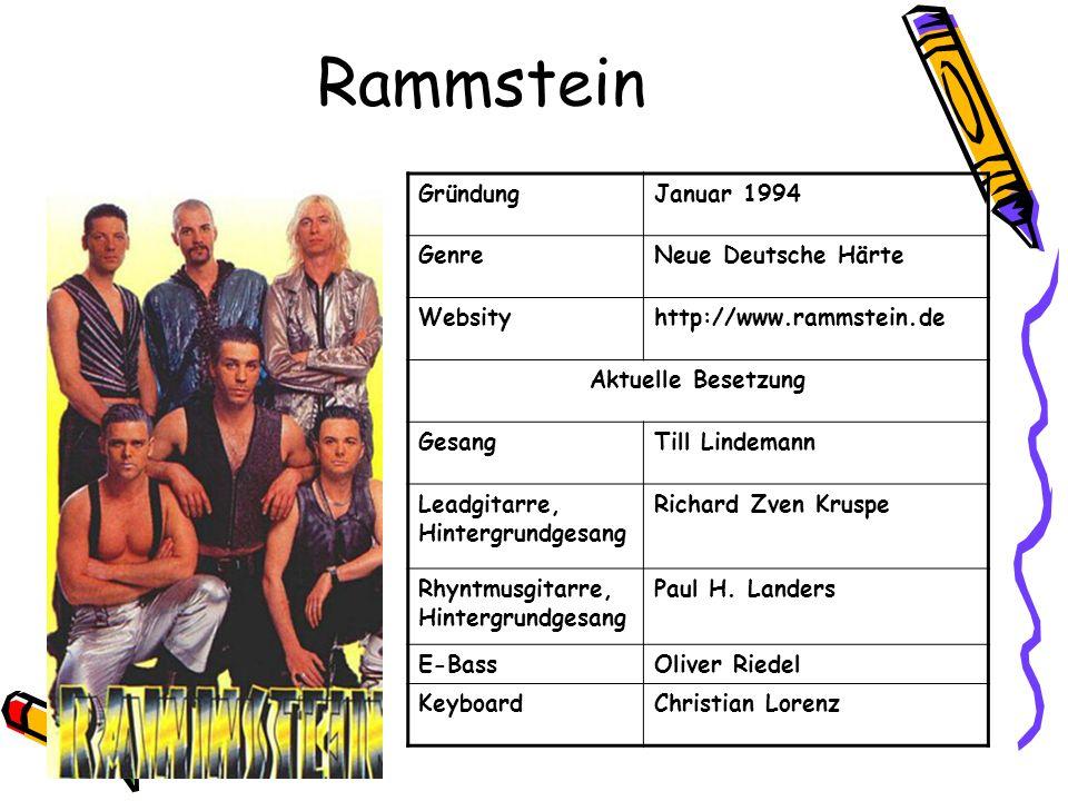 Rammstein Gründung Januar 1994 Genre Neue Deutsche Härte Websity