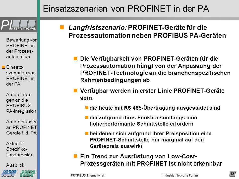 Einsatzszenarien von PROFINET in der PA