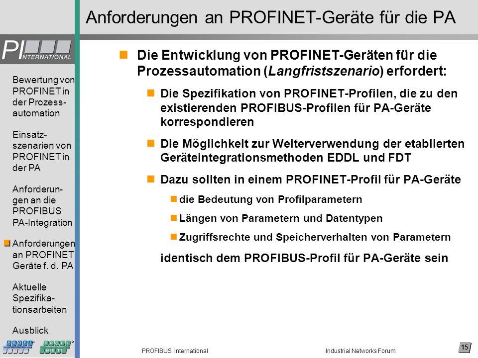 Anforderungen an PROFINET-Geräte für die PA