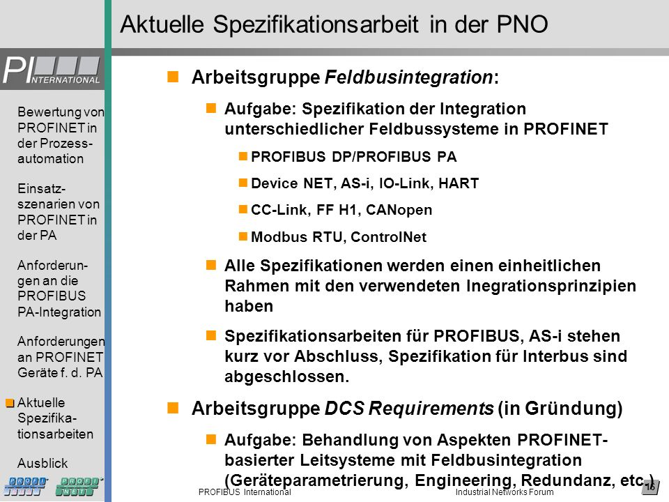 Aktuelle Spezifikationsarbeit in der PNO