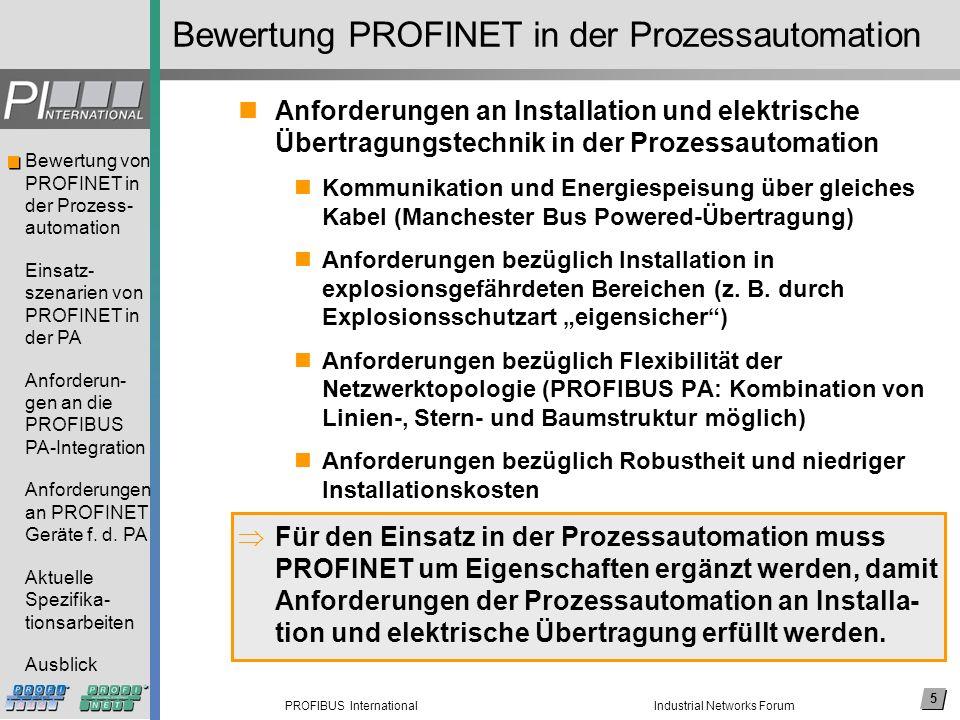 Bewertung PROFINET in der Prozessautomation