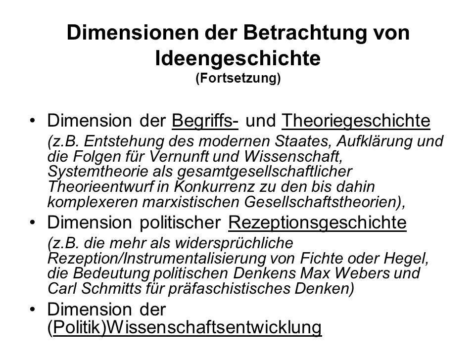 Dimensionen der Betrachtung von Ideengeschichte (Fortsetzung)