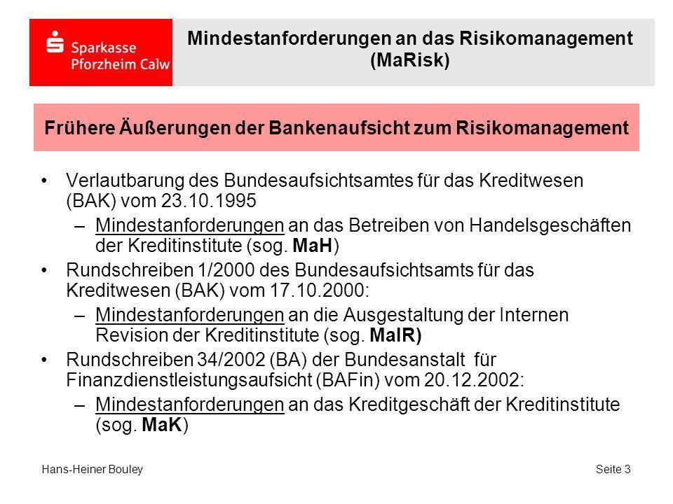Frühere Äußerungen der Bankenaufsicht zum Risikomanagement