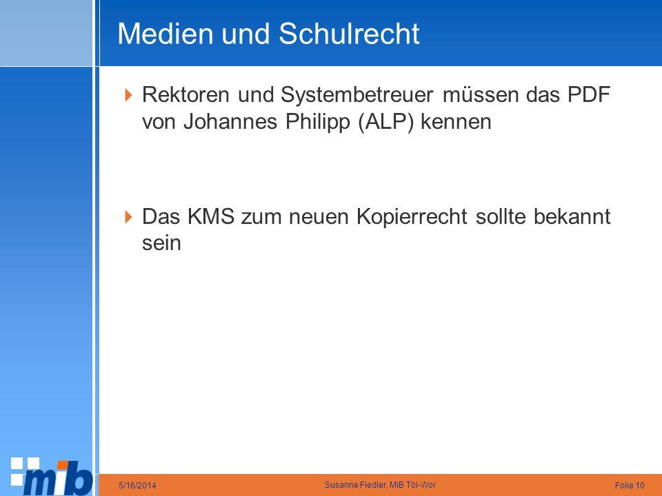 Medien und Schulrecht Rektoren und Systembetreuer müssen das PDF von Johannes Philipp (ALP) kennen.