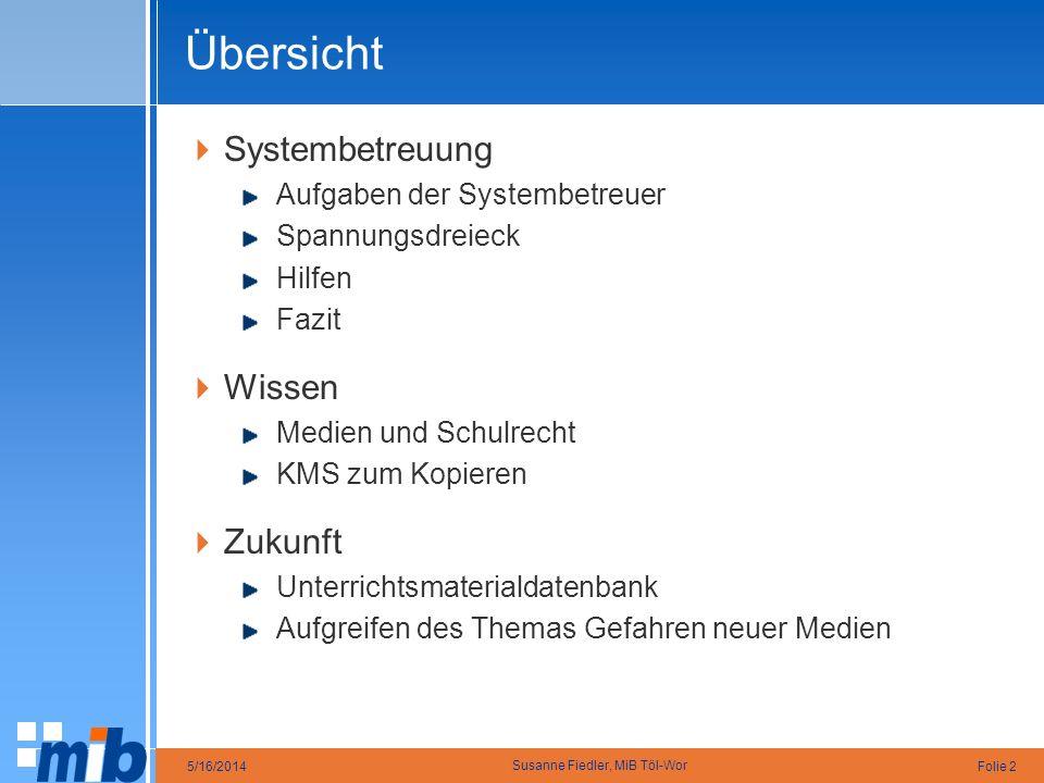Übersicht Systembetreuung Wissen Zukunft Aufgaben der Systembetreuer