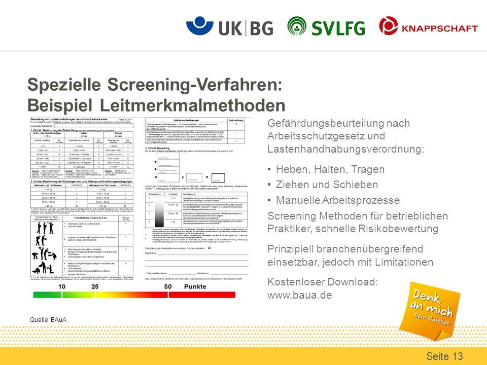 Spezielle Screening-Verfahren: Beispiel Leitmerkmalmethoden