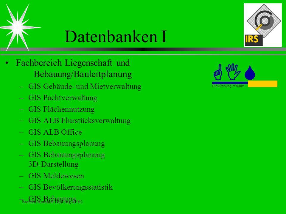 GIS Datenbanken I Fachbereich Liegenschaft und Bebauung/Bauleitplanung