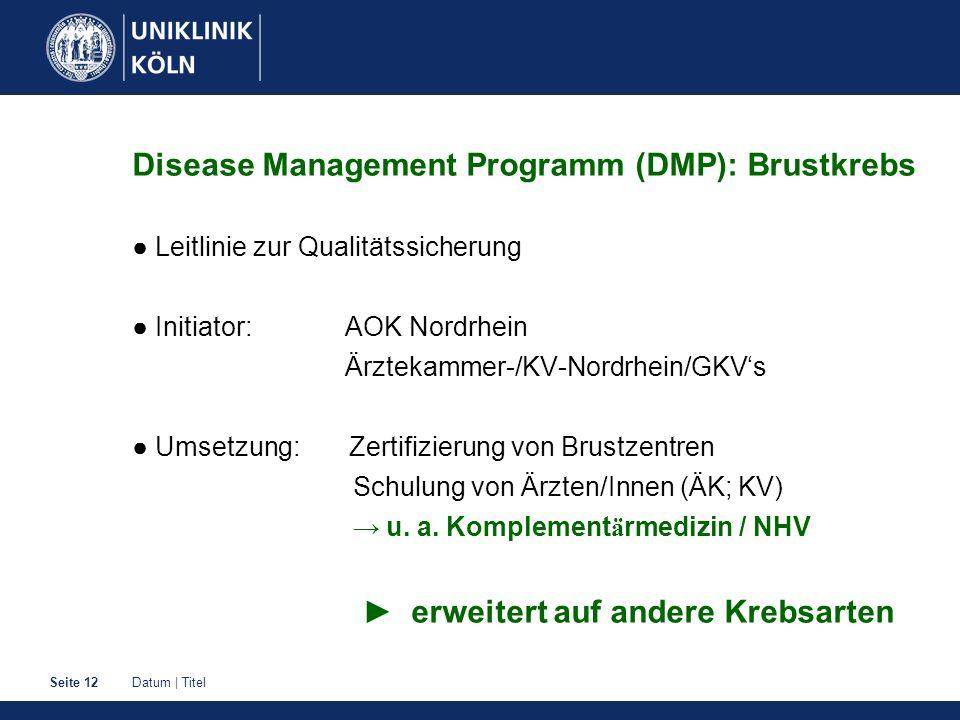 Disease Management Programm (DMP): Brustkrebs