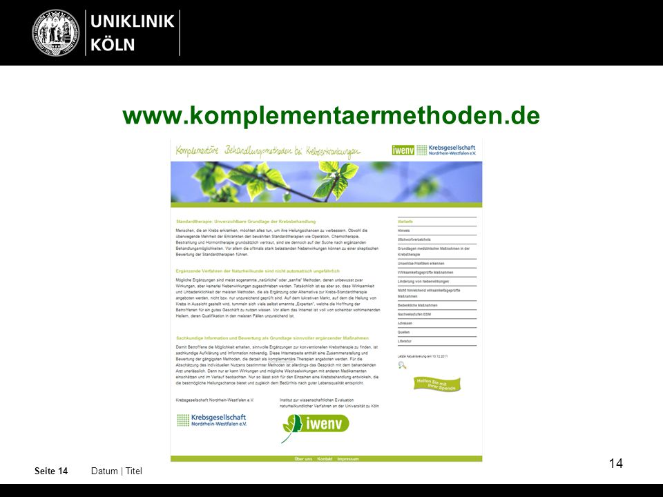 www.komplementaermethoden.de Seite 14 Datum | Titel