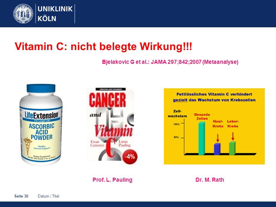 Vitamin C: nicht belegte Wirkung!!!