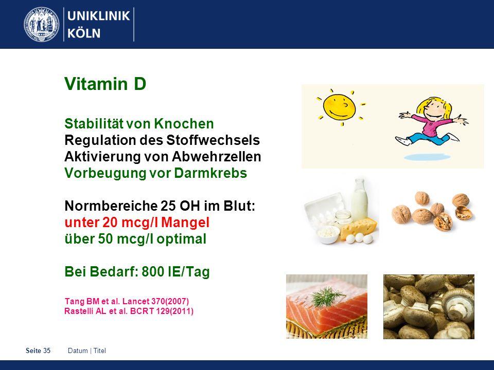 Vitamin D Stabilität von Knochen Regulation des Stoffwechsels Aktivierung von Abwehrzellen Vorbeugung vor Darmkrebs Normbereiche 25 OH im Blut: unter 20 mcg/l Mangel über 50 mcg/l optimal Bei Bedarf: 800 IE/Tag Tang BM et al.