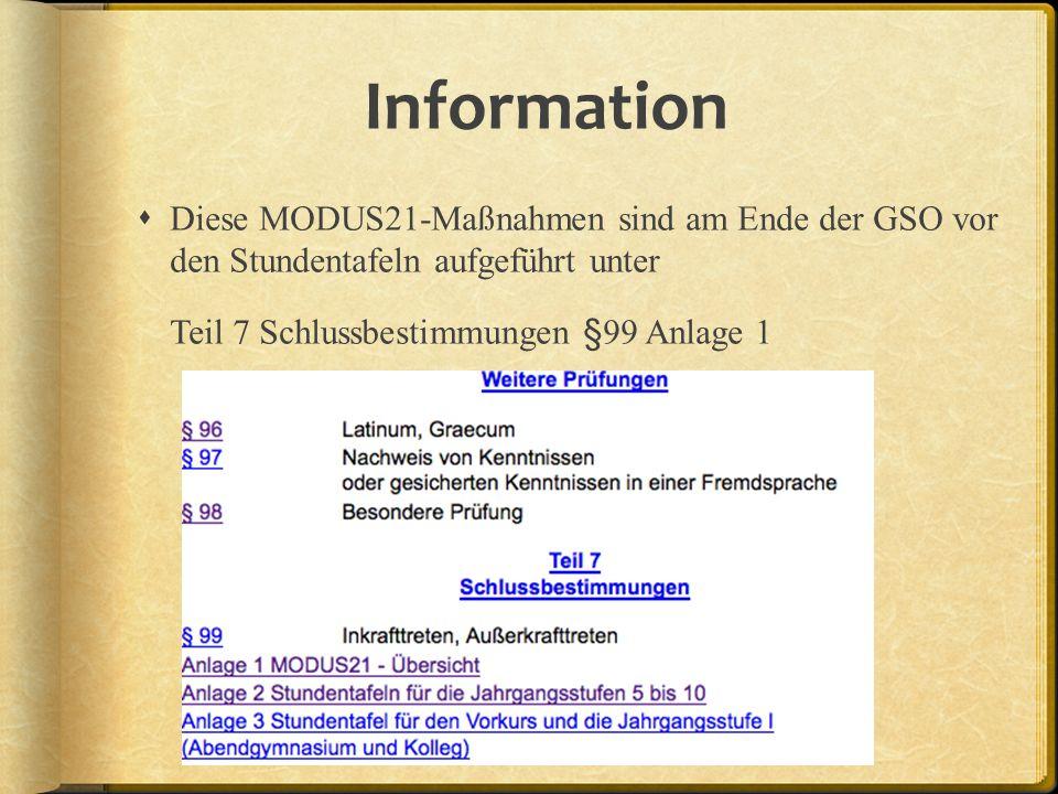 Information Diese MODUS21-Maßnahmen sind am Ende der GSO vor den Stundentafeln aufgeführt unter.