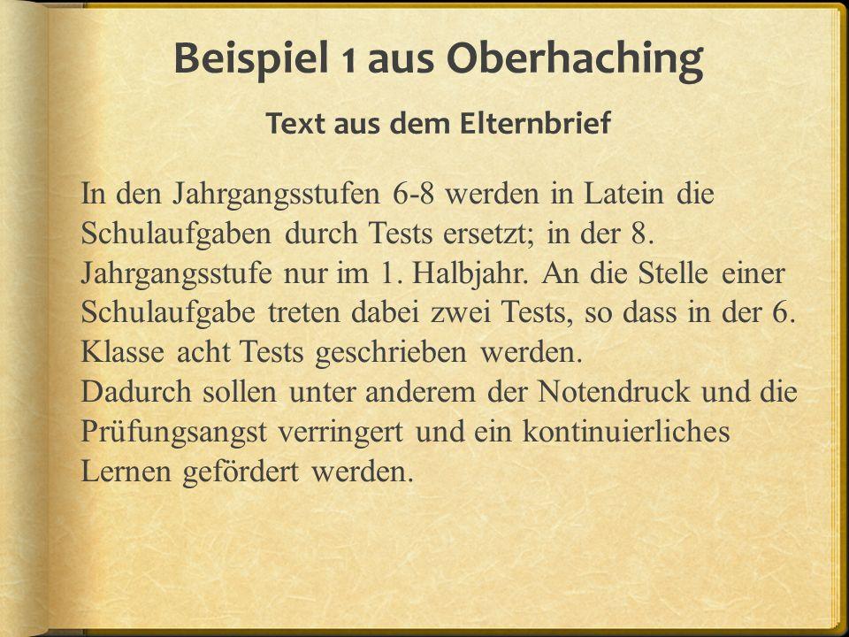 Beispiel 1 aus Oberhaching Text aus dem Elternbrief