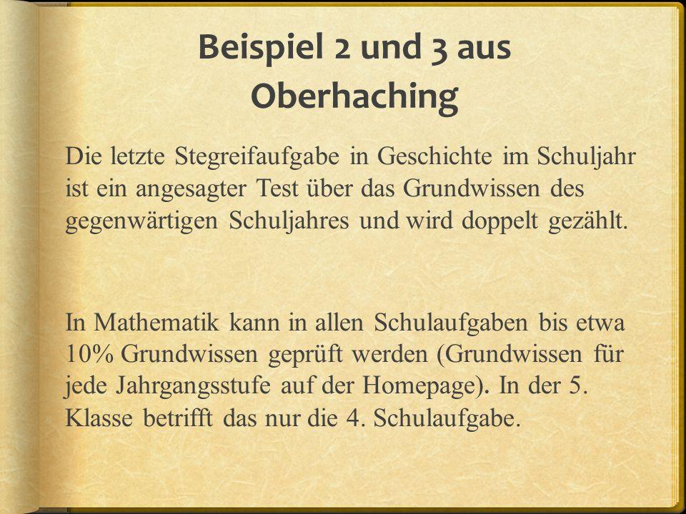 Beispiel 2 und 3 aus Oberhaching