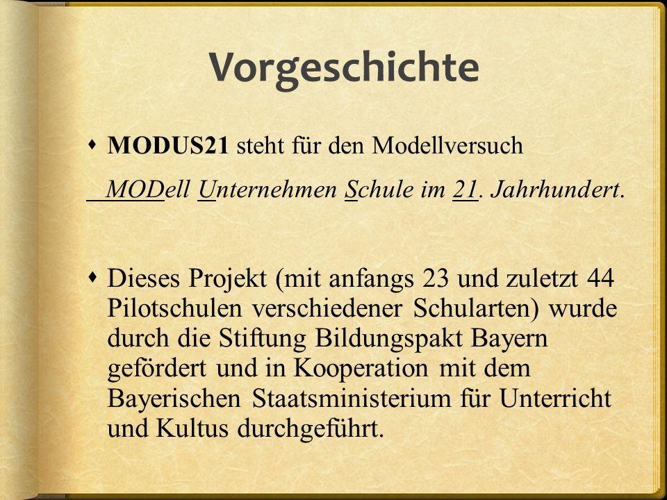 Vorgeschichte MODUS21 steht für den Modellversuch. MODell Unternehmen Schule im 21. Jahrhundert.