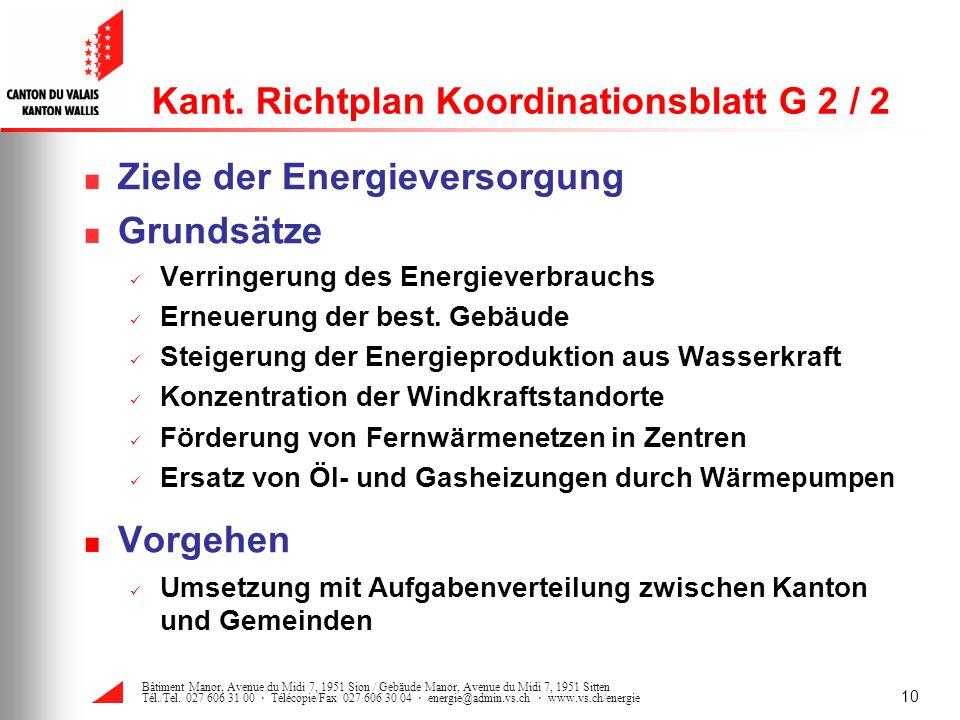 Kant. Richtplan Koordinationsblatt G 2 / 2
