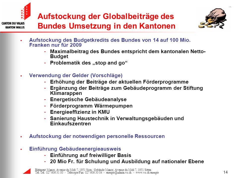 Aufstockung der Globalbeiträge des Bundes Umsetzung in den Kantonen