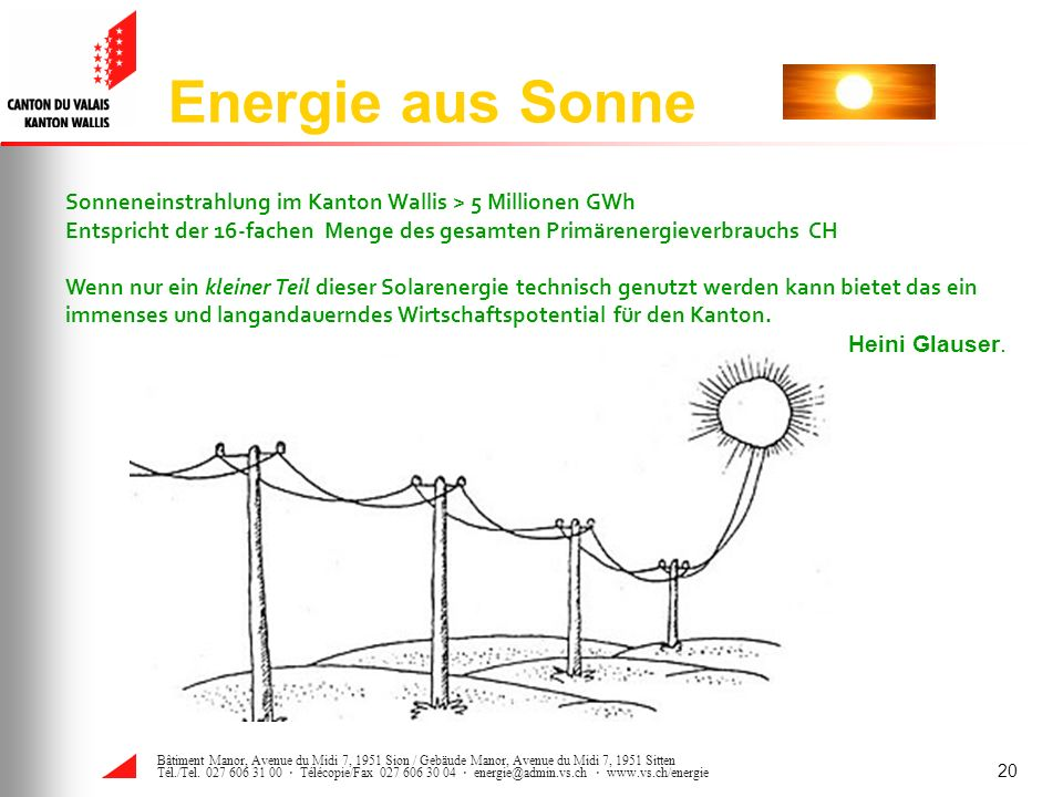 Energie aus Sonne Sonneneinstrahlung im Kanton Wallis > 5 Millionen GWh. Entspricht der 16-fachen Menge des gesamten Primärenergieverbrauchs CH.