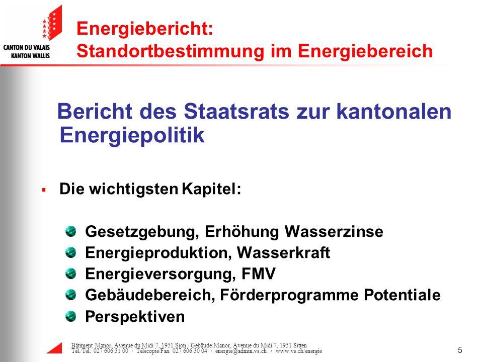 Energiebericht: Standortbestimmung im Energiebereich