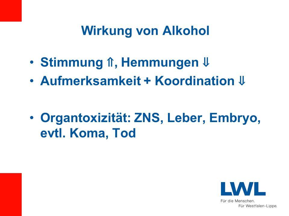 Wirkung von Alkohol Stimmung ⇑, Hemmungen ⇓ Aufmerksamkeit + Koordination ⇓ Organtoxizität: ZNS, Leber, Embryo, evtl.