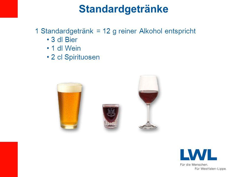 Standardgetränke 1 Standardgetränk = 12 g reiner Alkohol entspricht
