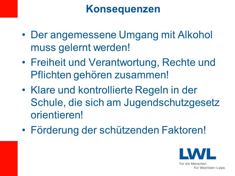 Konsequenzen Der angemessene Umgang mit Alkohol muss gelernt werden! Freiheit und Verantwortung, Rechte und Pflichten gehören zusammen!