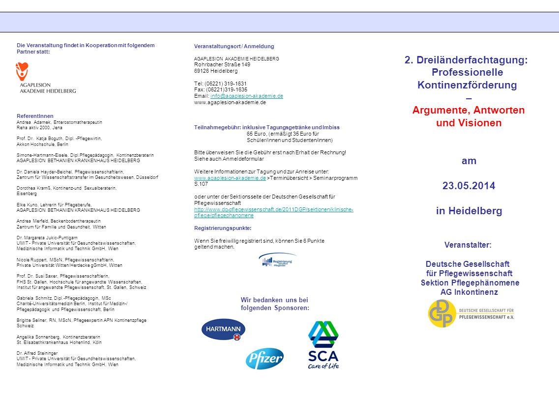 2. Dreiländerfachtagung: Professionelle Kontinenzförderung –