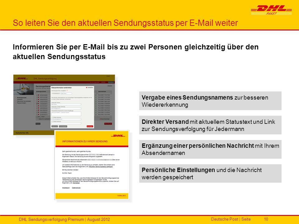 So leiten Sie den aktuellen Sendungsstatus per E-Mail weiter