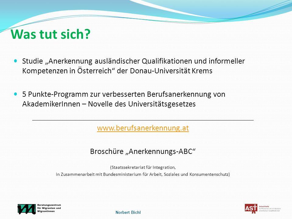 """Was tut sich Studie """"Anerkennung ausländischer Qualifikationen und informeller Kompetenzen in Österreich der Donau-Universität Krems."""