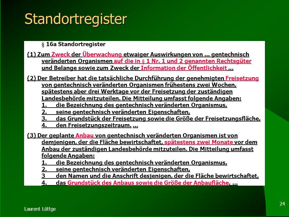Standortregister § 16a Standortregister.