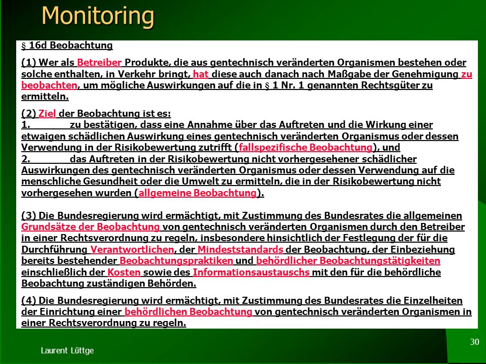 Monitoring § 16d Beobachtung