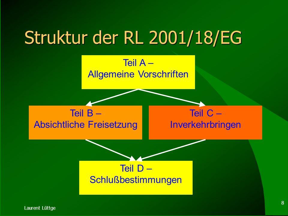 Struktur der RL 2001/18/EG Teil A – Allgemeine Vorschriften