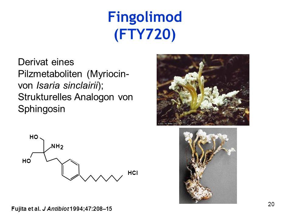 Fingolimod (FTY720) Derivat eines Pilzmetaboliten (Myriocin- von Isaria sinclairii); Strukturelles Analogon von Sphingosin.