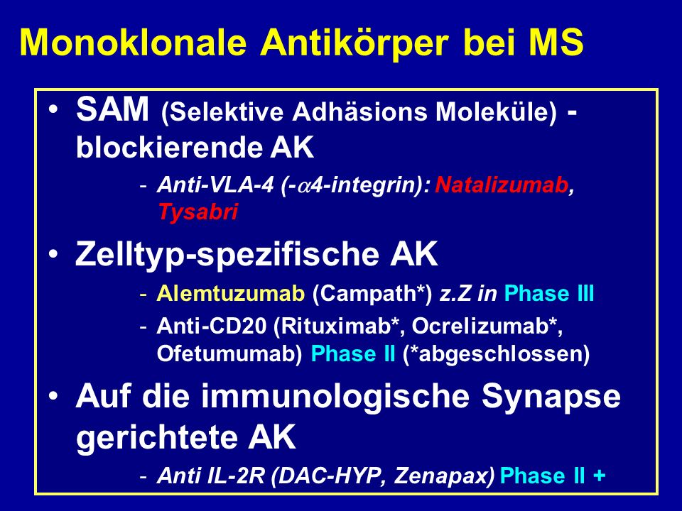 Monoklonale Antikörper bei MS