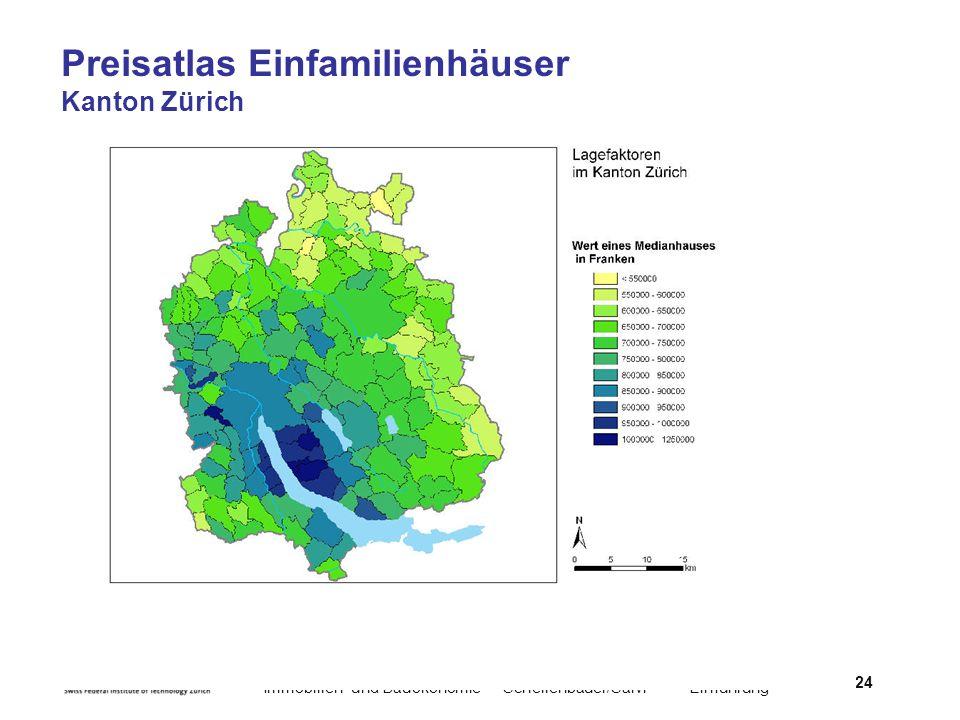 Preisatlas Einfamilienhäuser Kanton Zürich