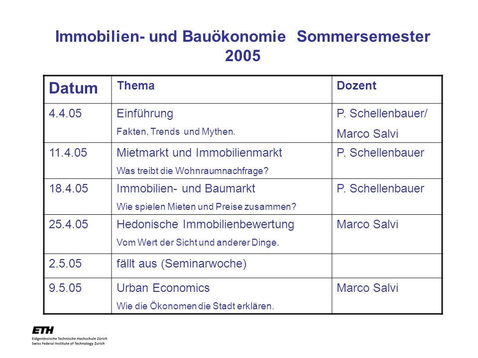 Immobilien- und Bauökonomie Sommersemester 2005