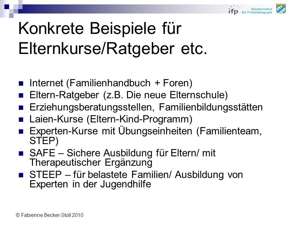 Konkrete Beispiele für Elternkurse/Ratgeber etc.