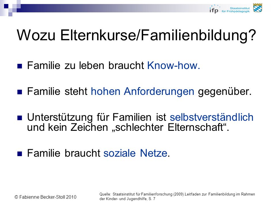Wozu Elternkurse/Familienbildung