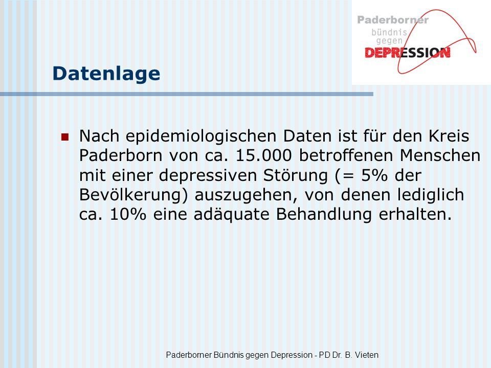 Paderborner Bündnis gegen Depression - PD Dr. B. Vieten