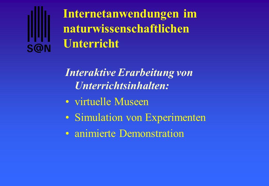 Internetanwendungen im naturwissenschaftlichen Unterricht