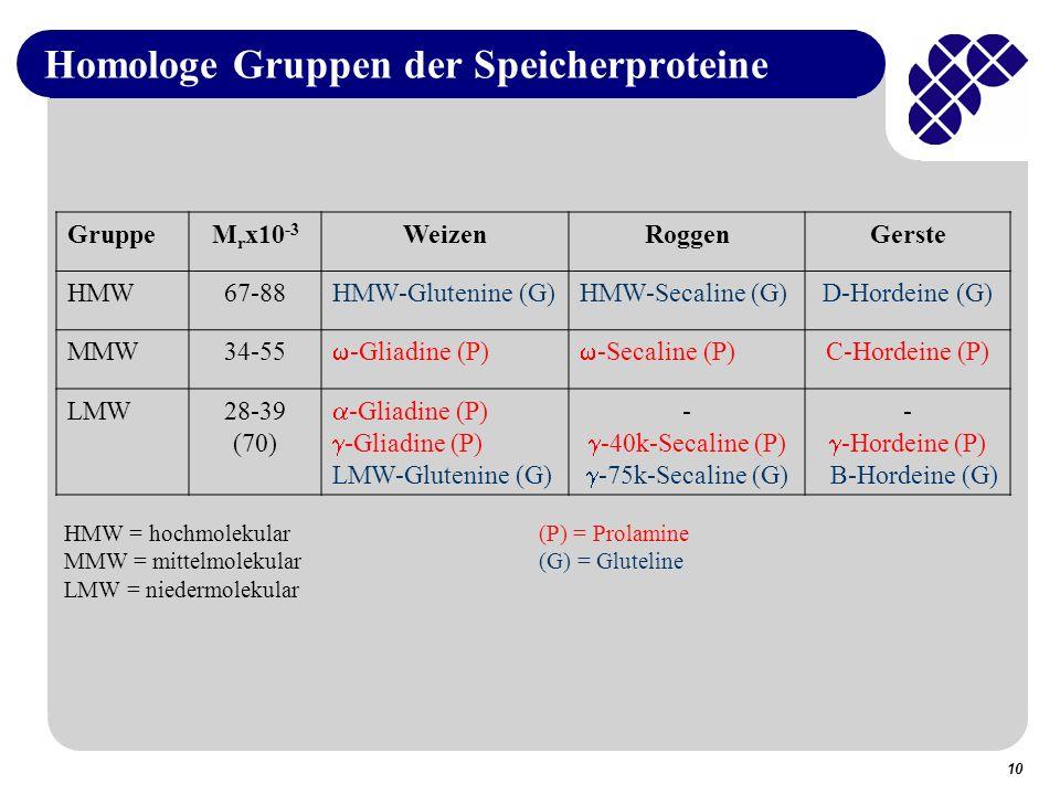 Homologe Gruppen der Speicherproteine