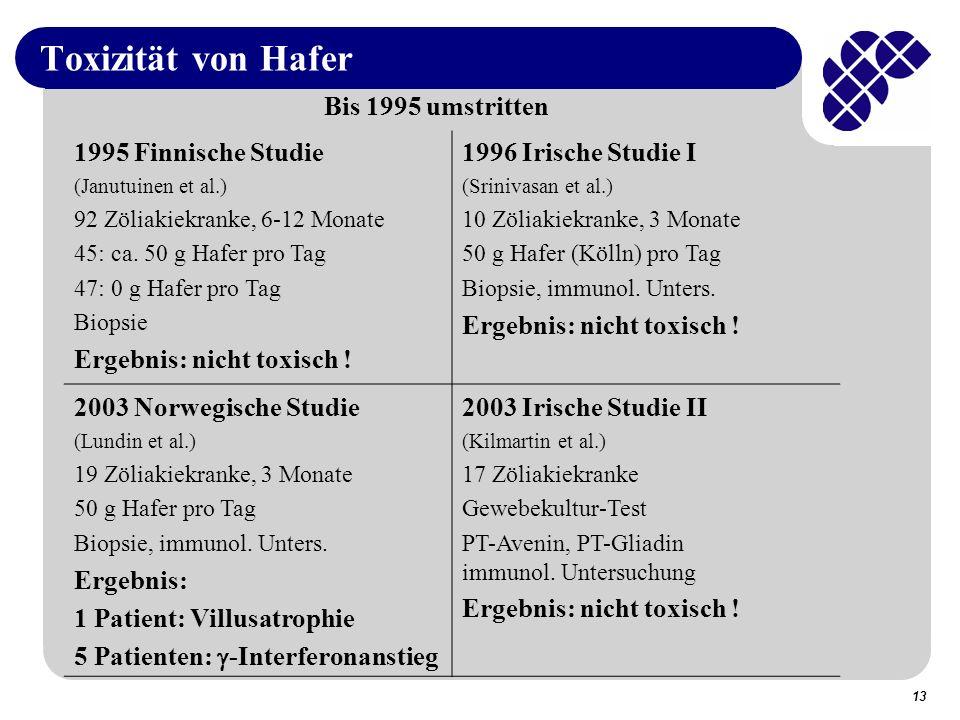 Toxizität von Hafer Bis 1995 umstritten 1995 Finnische Studie