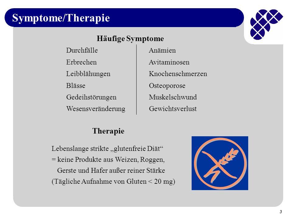 Symptome/Therapie Häufige Symptome Therapie Durchfälle Anämien