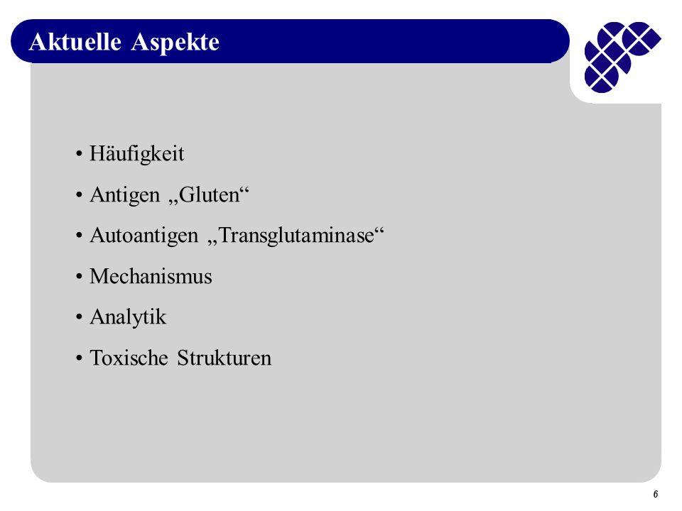 """Aktuelle Aspekte Häufigkeit Antigen """"Gluten"""