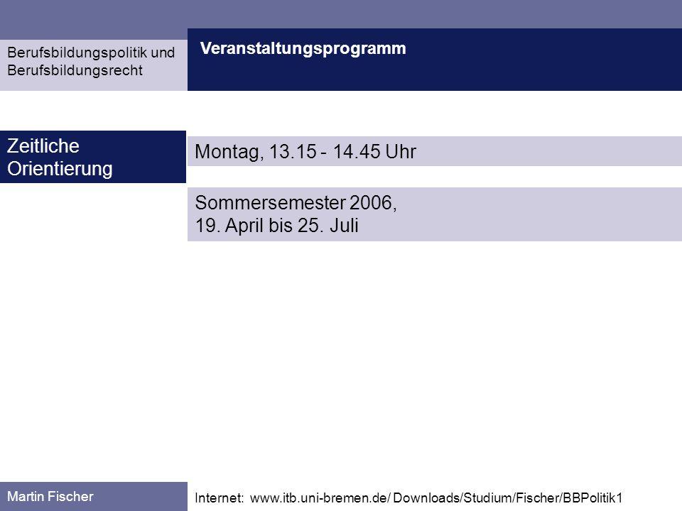 Zeitliche Orientierung Montag, 13.15 - 14.45 Uhr